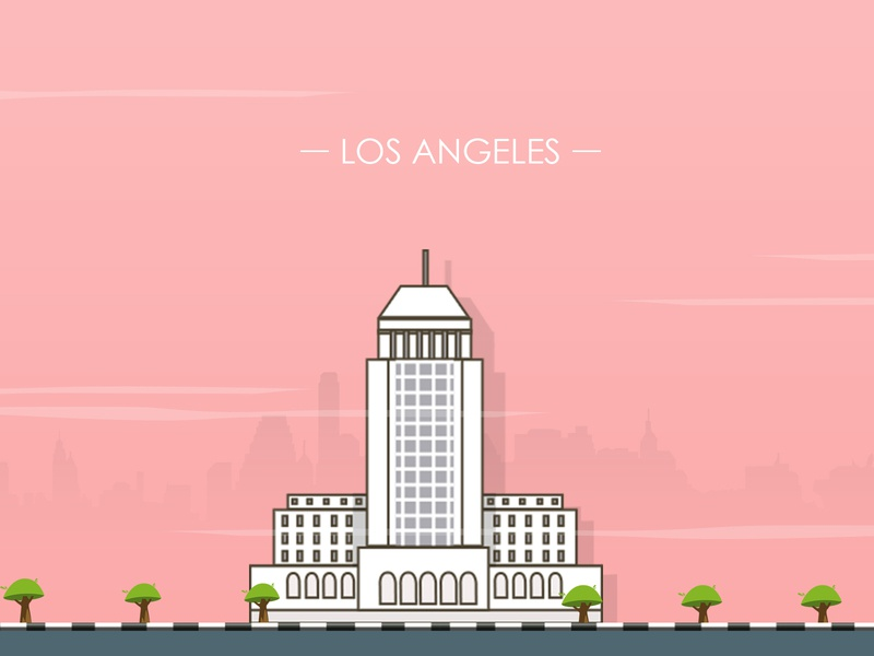 Los Angeles City illustration - 100 post challenge - Shot - 7