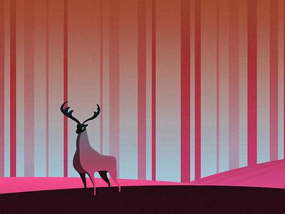 Deer design vector clean minimalistic series sketch wood colour tree forest deer animal illustration