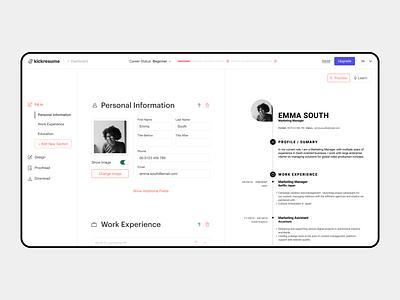 Kickresume Editor desktop white application hiring online icon site interaction interface design minimalistic clean website web redesign app ux ui