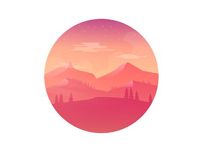 Orange Hills hills colorful circle badge 2d vector gradiant flat landscape illustration photoshop illustrator