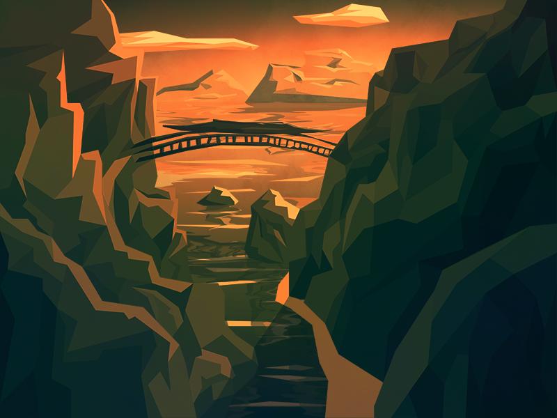 'The Bridge' Low Poly Illustration bridge low poly scene colorful flat gradiant illustration illustrator landscape mountains photoshop vector