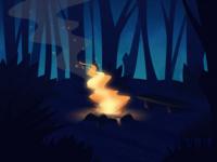 'The Campfire' fire light scene colorful flat gradiant illustration illustrator landscape forest photoshop vector