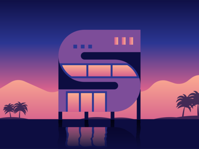 36 Days Of Type — S 36daysoftype clean flat geometric gradient graphic house illustration illustrator texture vector