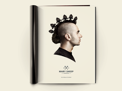 Mary Sheep Print Ad design style punk hair crown print poster hairdresser queen sheep mary