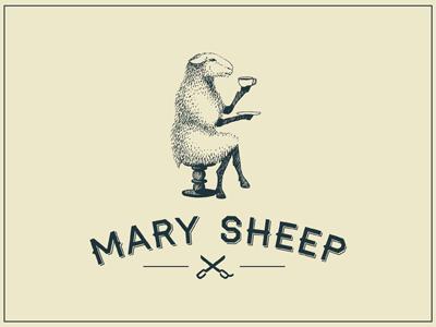Mary Sheep    sheep hairdresser scissors tea logo
