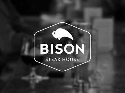 Bison   bull bison steak bar logo lettering