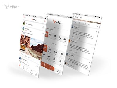 Vihor App Redesign extreme sport design mobile white minimalistic ios android ui ux minimal app