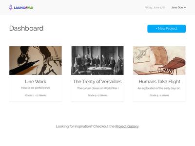 LaunchPad Dashboard layout web ui