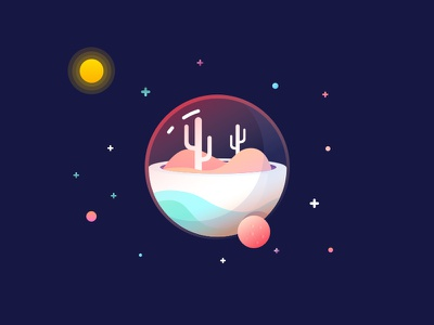 (6/100) Weekly vector challenge #05: Snow Globe mbe style mbe star space moon cactus planet snowglobe