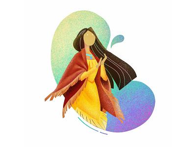 (22/100) Disney princess #9: Pocahontas hair design character girl disney princess disney illustration designchallenge pocahontas