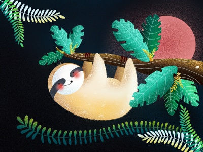 (66/100) Sloth tree moon designchallenge illustration sloth