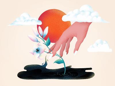 (69/100) Hand & Flower 2 lily flower hand designchallenge illustration