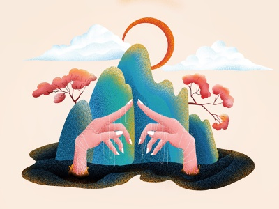 (72/100) hands and trees designchallenge illustration trees hands hand