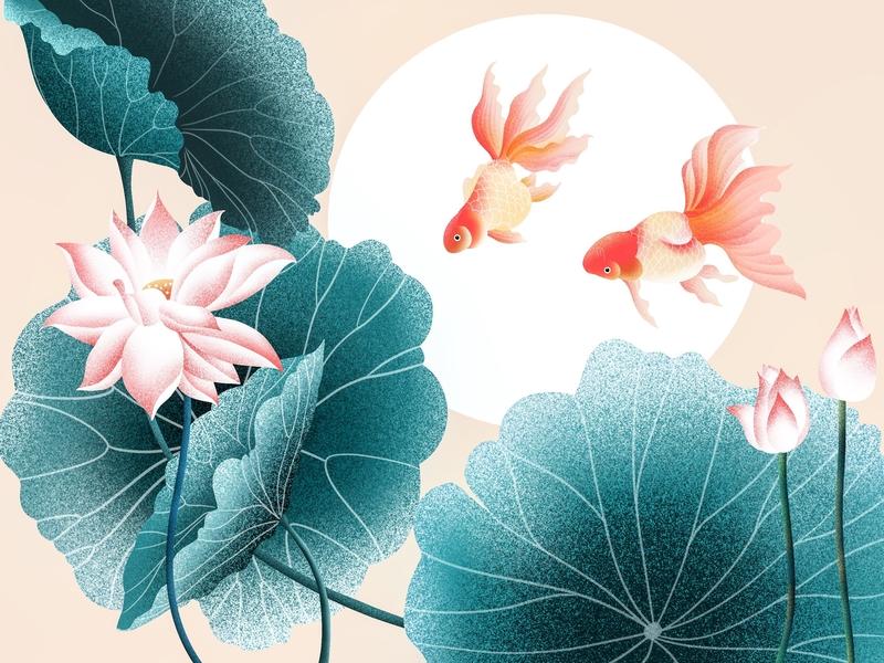 (76/100) Fish And Lotus illustration designchallenge goldfish chinese style chinese culture lotus fish