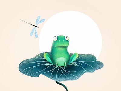 (77/100) Flog On Lotus with dragonfly design designchallenge illustration lotus flog dragonfly