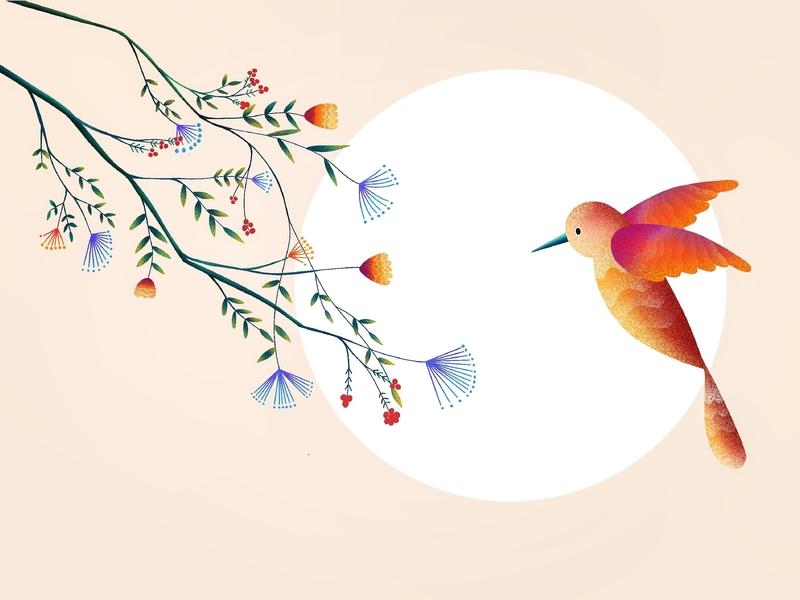 (78/100) Flower&Bird designchallenge illustration moon bird flower