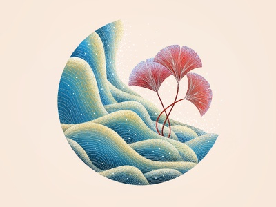 (80/100) waves and leaves pattern chinese chinese style designchallenge illustration wave waves leaves ocean sea