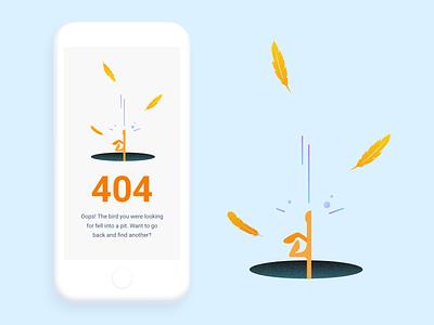 (82/100) The bird fell into a pit branding vector design fall feather bird 404 error page 404-error 404 error 404 page 404 ui designchallenge illustration