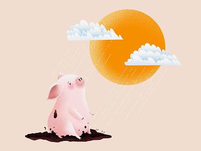 (83/100) Raining on a sunny day sad upset rainy day raining sunny day sunny animal character designchallenge illustration pig