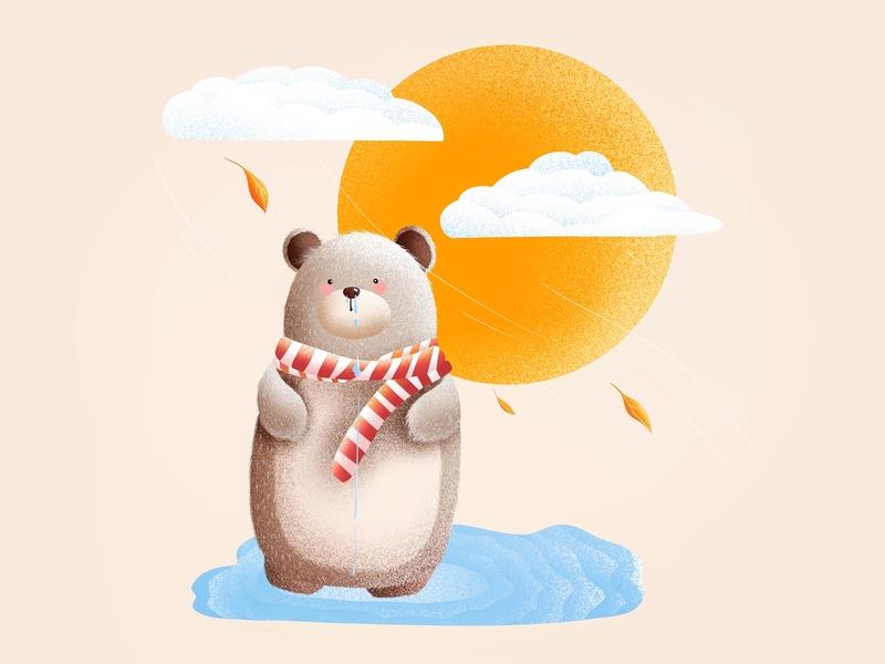 (84/100) Bear is cold leaves cold designchallenge illustration bear