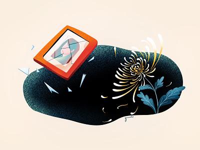 (89/100) 菊花残 满地伤 flower ruin glass glasses photo picture picture frame chrysanthemum song lyrics jay chow song designchallenge illustration