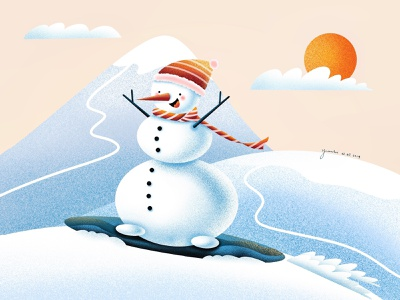 (93/100) Yay! I am going snowboarding tomorrow! lake tahoe designchallenge illustration snowboarding snowboard snow mountain snow day snow snowman