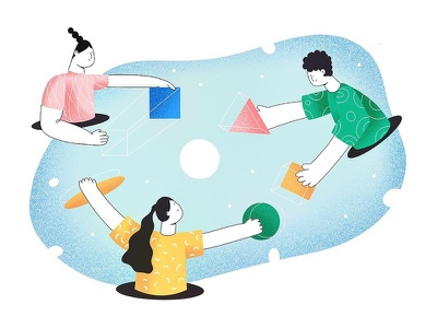 (96/100) Community collaboration communicate community space character designchallenge illustration