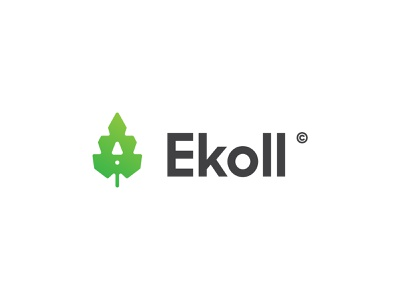 Ekoll mark branding vector clean identity design minimal logo leaf ecologic ecology eco
