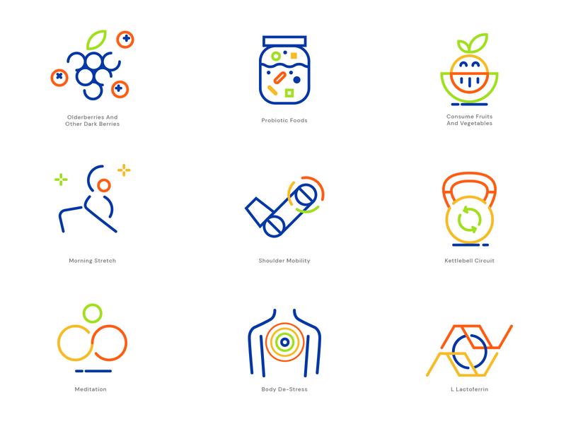 Health & wellness app icons linear illustration linear design linear icons lineart linear lines health app healthcare health icons design icon design iconography icons pack icons set iconset icons icon vector