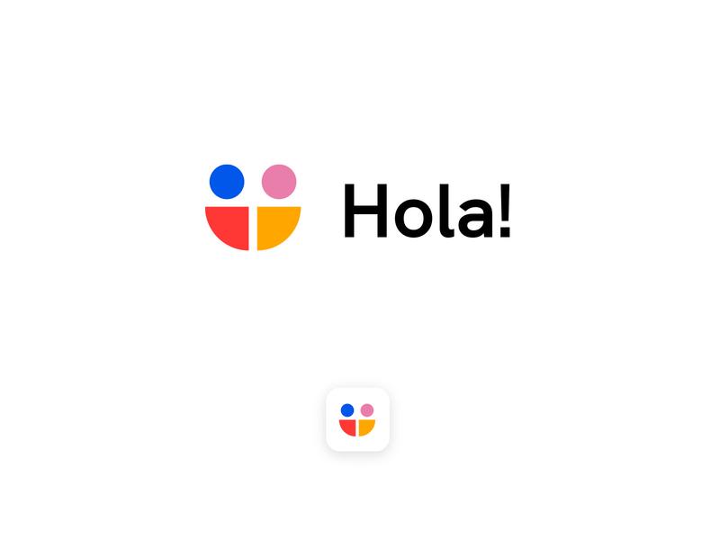 Hola! app branding and identity branding design brand design brand identity vector people smile concept clean brandmark mark identity branding minimal design logo