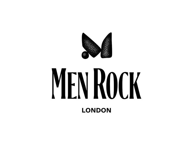 Men rock noisy men m letter m stone vector type concept clean brandmark mark identity branding minimal design logo