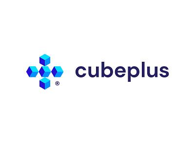 Cubeplus geometic logotype vector clean brandmark identity branding minimal design logo