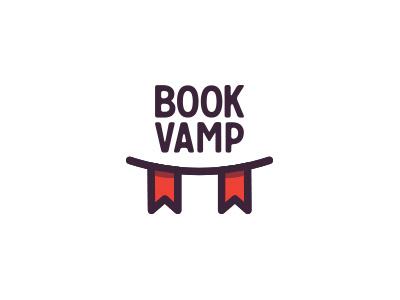 Bookvamp logo book vamp vampire bookmark logo