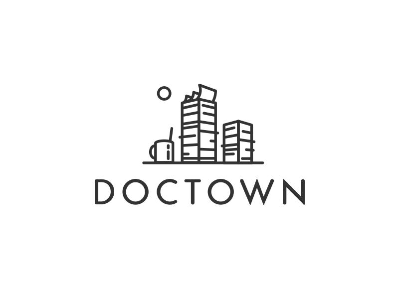 Doctown linework lines minimalistic minimal logo city town documents