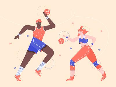 Basketball players ball game basketball odd sport character illustration