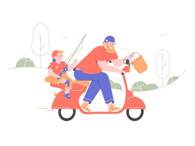 Father Son Fishing Time fishing scooter character illustration vector son father