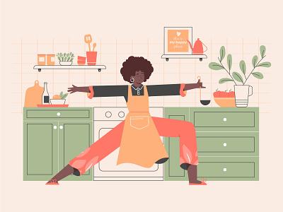 Kitchen Workout yoga vector afro interior kitchen girl sport character illustration