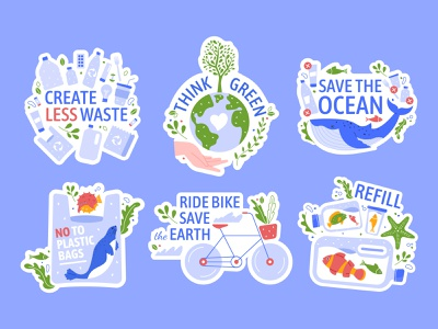 Ecology Stickers think green ecology vector illustration