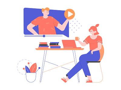 Online education illustration laptops girl education lesson online laptop