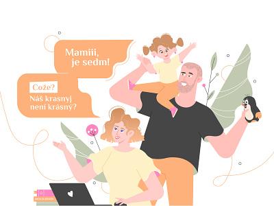 Mom teacher laptop illustration family teacher mother
