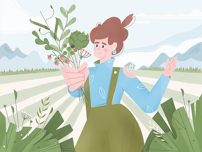 Girl in the field artichoke farm field character illustration