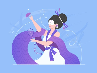 Chinese lady fireart mask culture asian chinese girl vector character illustration
