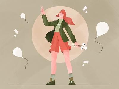 Peace fireart flower peaceful girl vector 2d peace character illustration