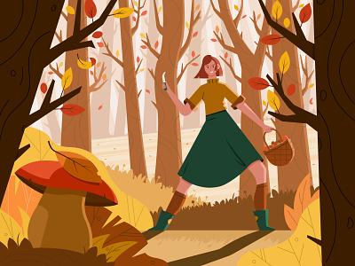 Mushroom Season: Let the Hunt Begin fireartstudio fireart girl season fall autumn mushroom forest vector character illustration