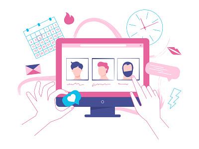 Dating service like girl computer illustration