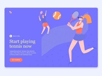 Tennis couple play couple court sport tennis landing page hero image character illustration