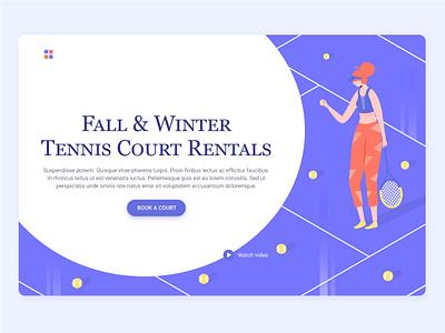 Tennis court tennis sport girl court landing page hero image character illustration