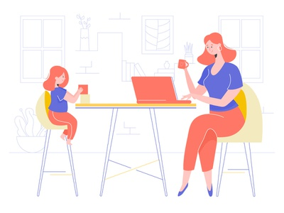 Mom and Daughter room daughter mother laptop family girl hero image character illustration