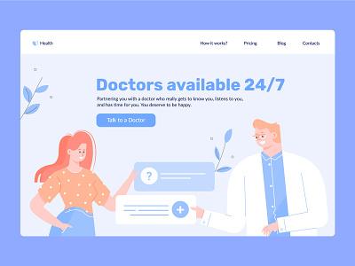 Online Doctor & Medical Service chat online doctor landing page character illustration