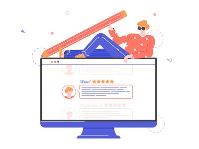 Feedback Guy screens reviews boy character illustration feedback